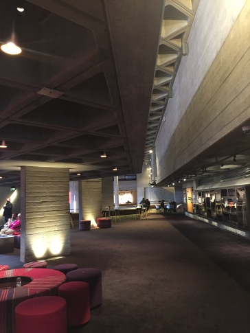 Brutalist architecture of the National Theatre lounge at Southbank Centre