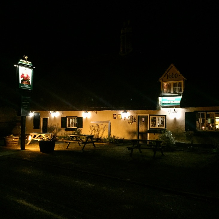 John Barleycorn Pub Duxford lit up at night