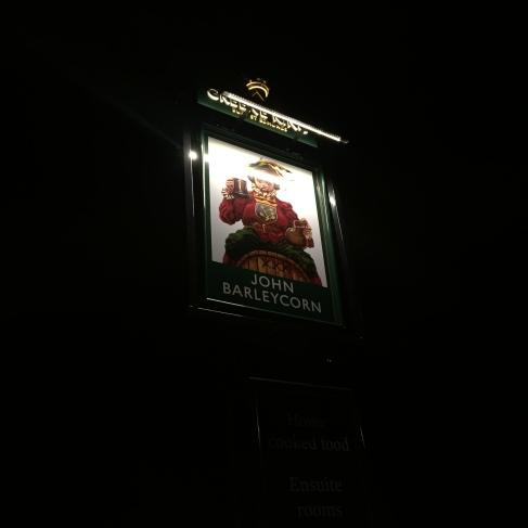 Sign for the Cambridgeshire pub the John Barleycorn in Duxford village