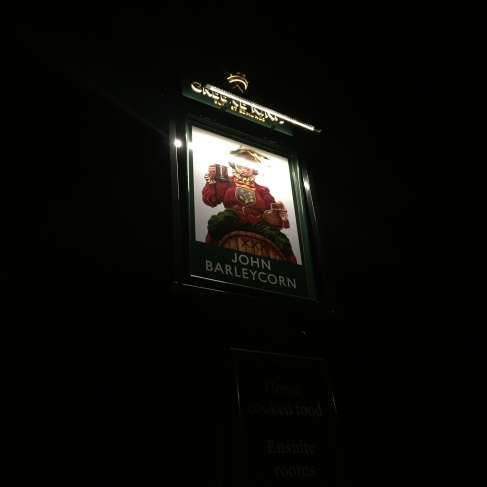Sign for the Cambridgeshire pub the John Barleycorn in Duxford village