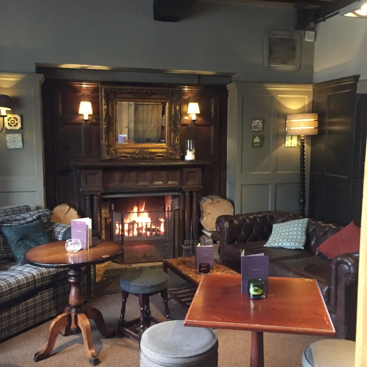 cosy lounge, roaring log fire