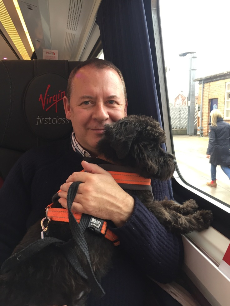 Herbie travels First Class with Virgin Trains East Coast to Newcastle