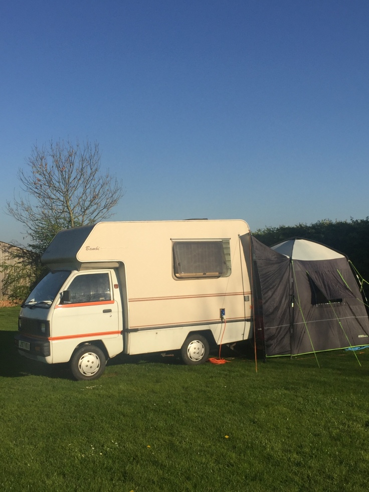 Bedford Bambi parked up and pitched at Loves Lane Campsite Ashwell Hertfordshire